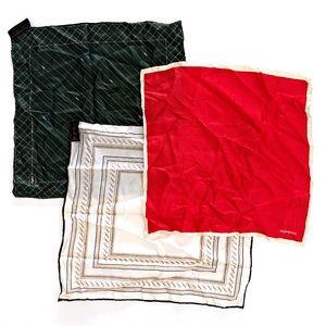 Yves Saint Laurent Womens Lot 3 Silk Handkerchiefs